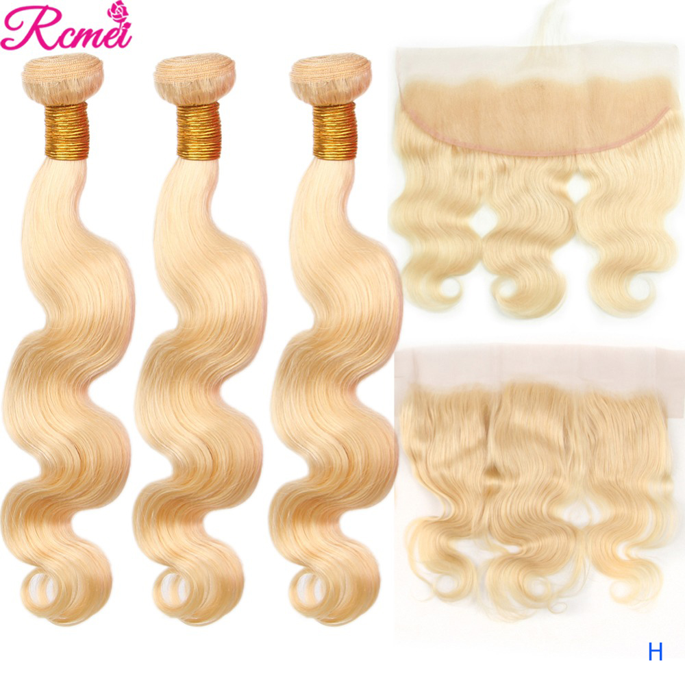 Rcmei 613 Honey Blonde 3 Bundles With Frontal Closure 13x4 Brazilian Body Weave 613 Bundles With Frontal Closure Remy Hair
