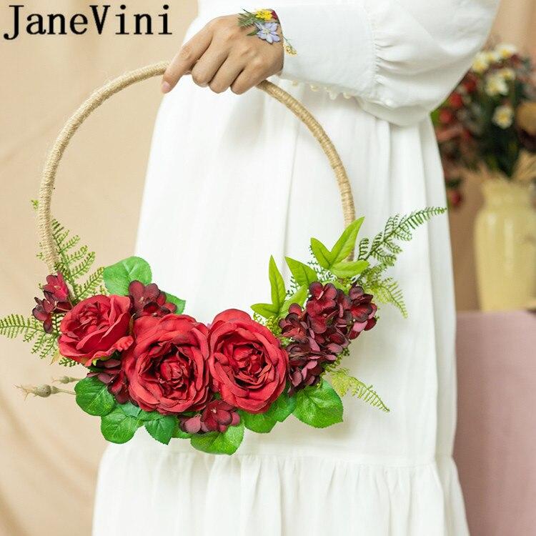 JaneVini 2020 artificielle mariée fleur couronne soie pivoine foncée violet mariage fleurs mariée Bouquets fleur panier Bloemboeket