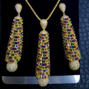 Image 4 - GODKI ארוך טאסל DROP 2PC ניגרי שרשרת עגיל תכשיטי סט לנשים חתונה מעוקב זירקון הודי דובאי כלה תכשיטים סטים