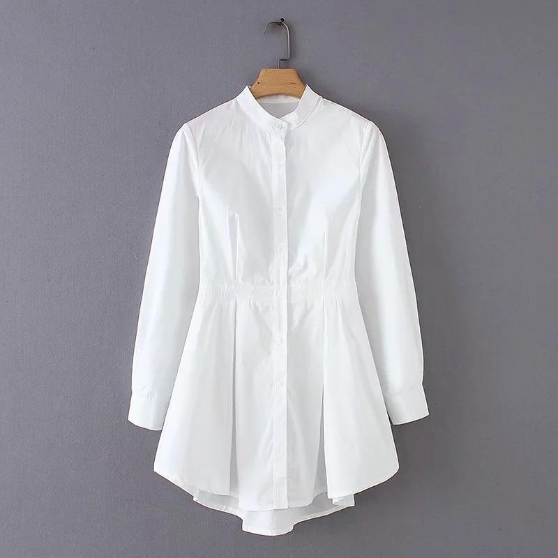 2020 Spring New Style Elegant Women Shirts Fashion White Stand Collar Irregular Cotton Shirts Office Lady Shirts