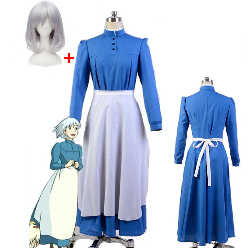 New Arrival The Of Howl Sophie's Castle Hatter Cosplay Dress Party Costume Maid Dress For Moving Castle Cosplay Costume And Wig