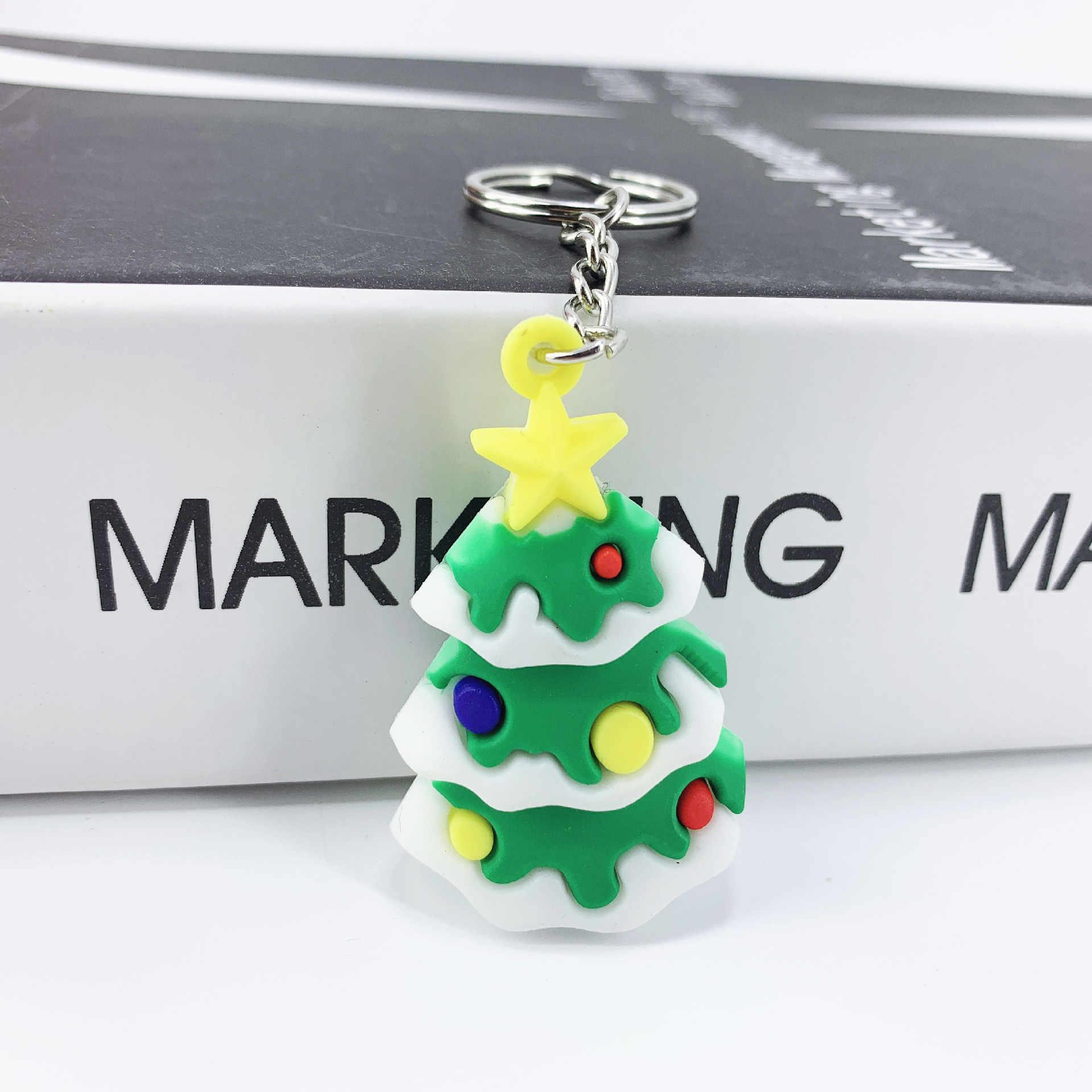 Feliz natal ornamentos decorações da árvore de natal noel papai noel boneco de neve elk chaveiro pingentes decoração da festa de natal