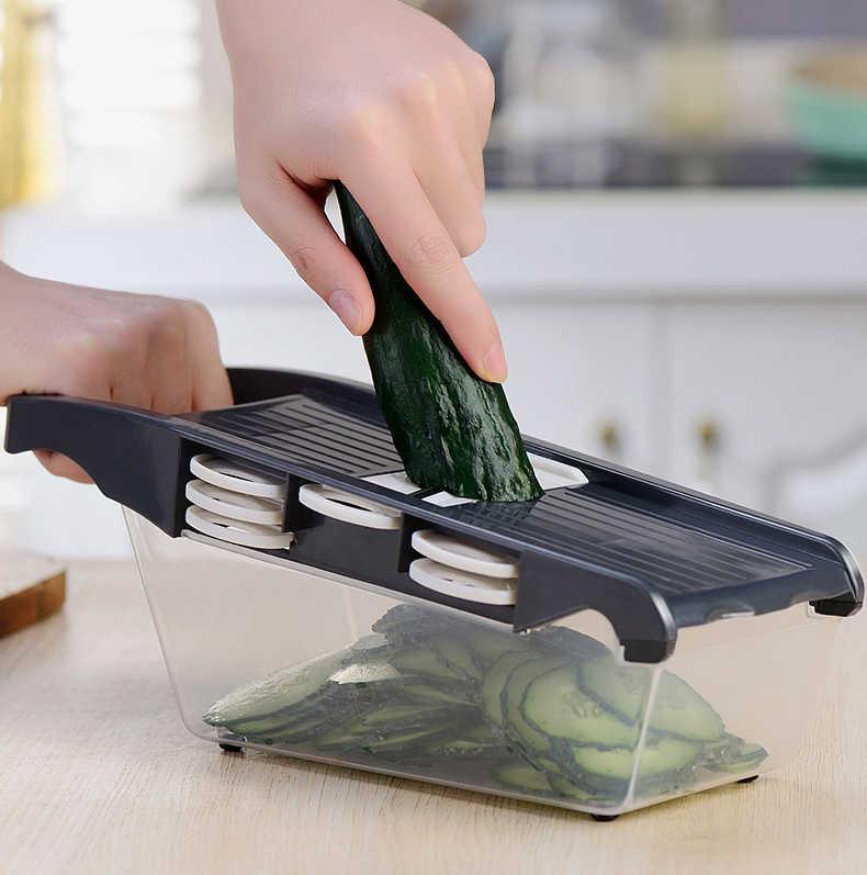 Manual de Batata Slicer Mandoline Aço Inoxidável Cortador De Fruta Vegetal Descascador de Cebola Cenoura Ralador Dicer Cozinha Ferramentas GYH