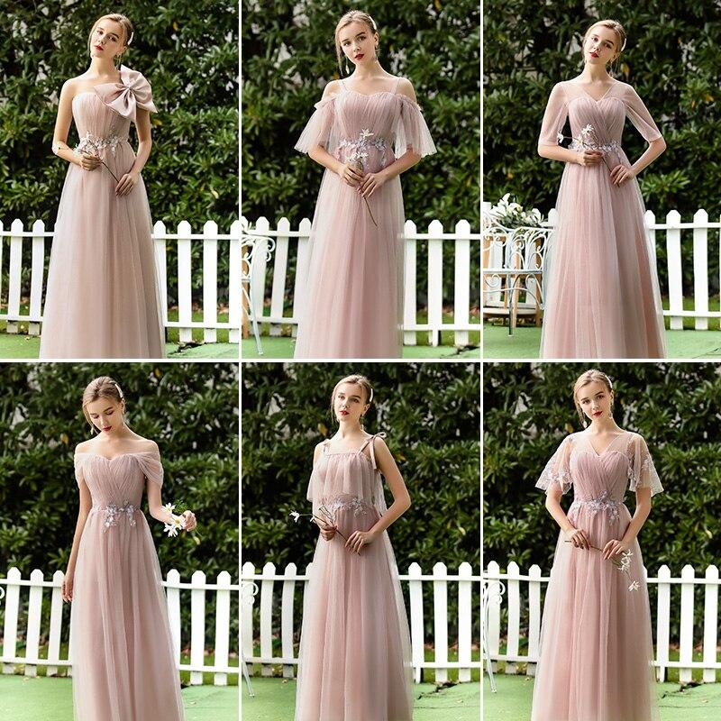 Pink Burgundy Bridesmaid Dresses Elegant Tulle Elegant Maid Of Honor Dresses For Weddings Guest A-Line Sexy Prom Dress Vestido