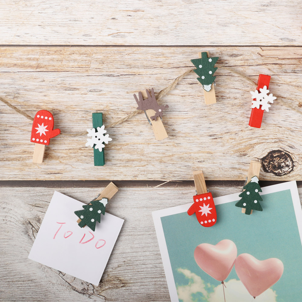Clothespin Party Decor Card Holder Paper Clamp Christmas Woody Clips Photo Pegs