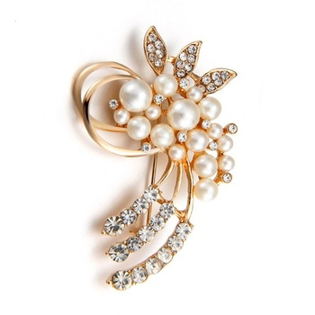 ZOSHI Fashion Jewelry High Quality Vintage Gold Brooch Pins Austria Crystals Imitation Pearl Flower Brooch Wedding Accessories
