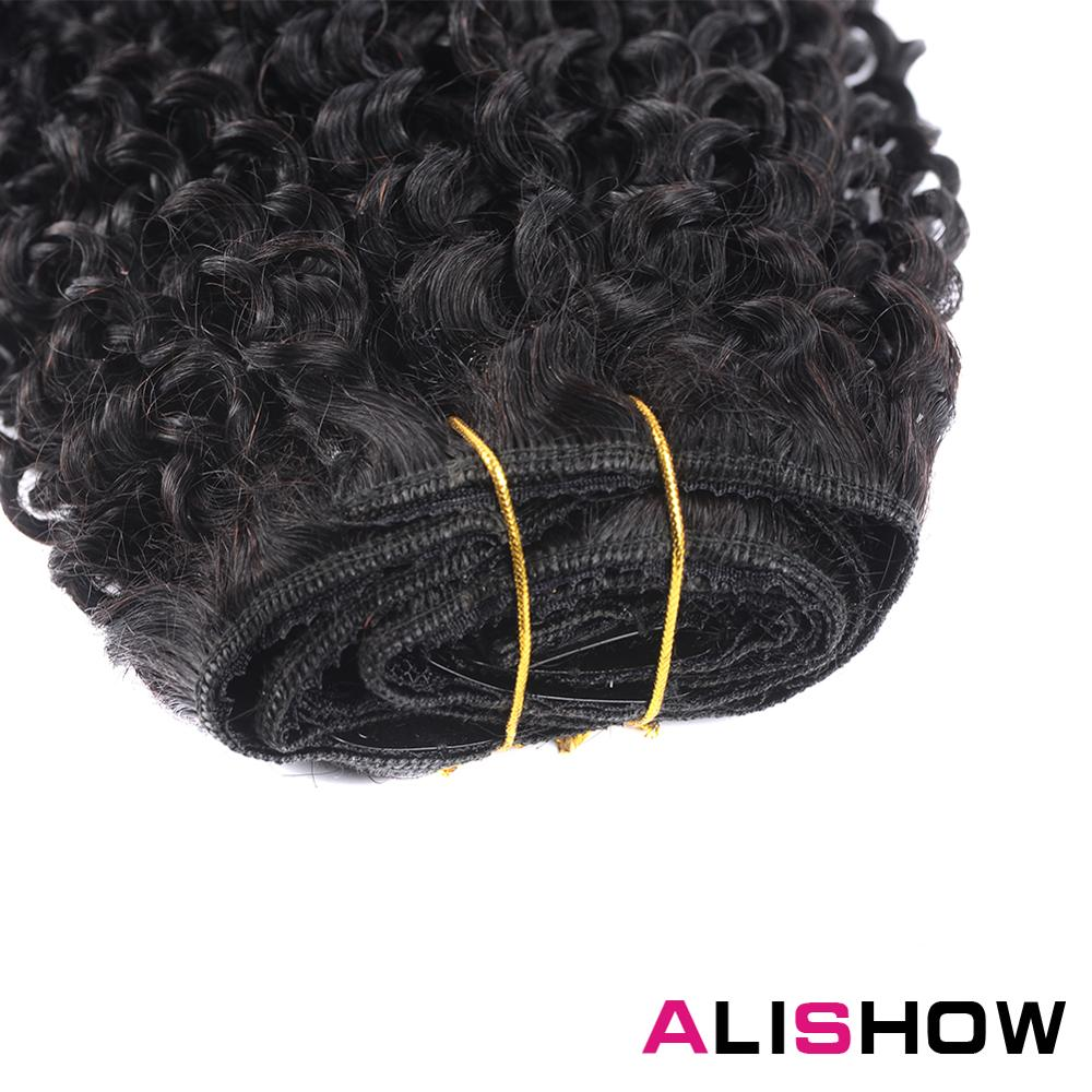 Alishow Indian Afro Kinky Curly Weave Remy Hair Clip In Human Hair Extensions Natural Color Full Head 10Pcs 120G DHL Ship Free