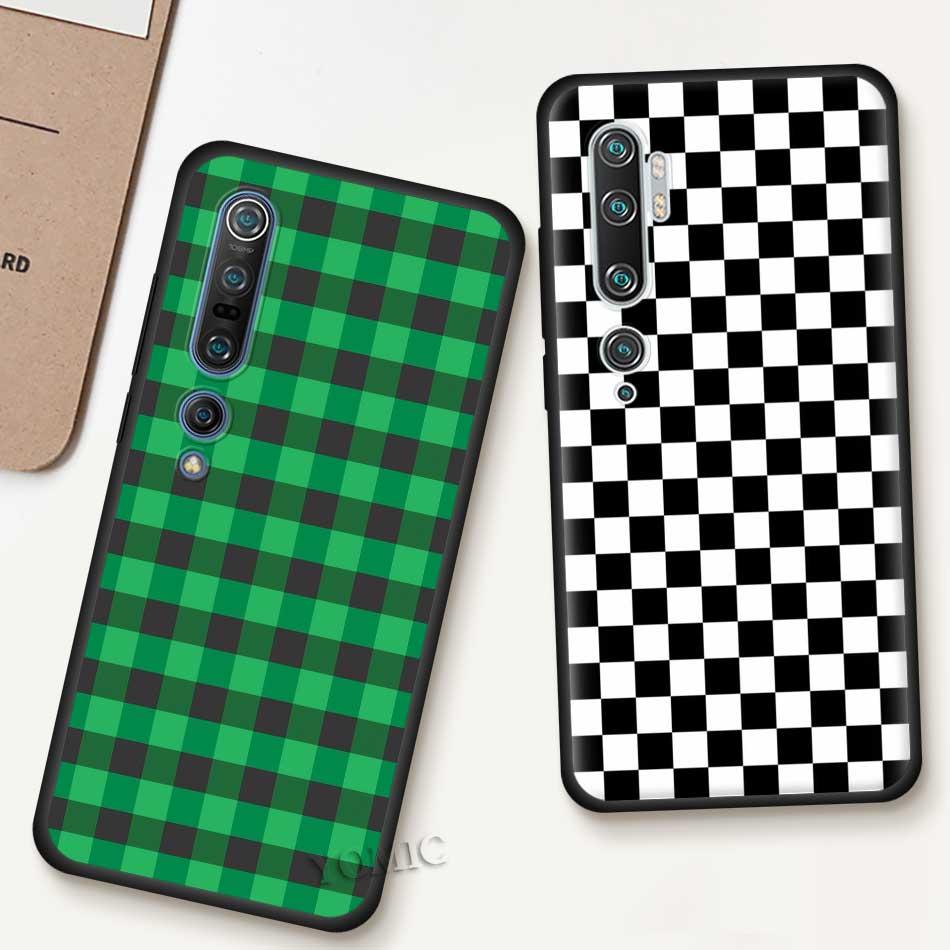 Checkerboard Checkered Case For Xiaomi Mi Note 10 9 SE 9T CC9 Pro 5G A3 A2 8 Lite Poco X2 TPU Black Soft Phone Coque Cover