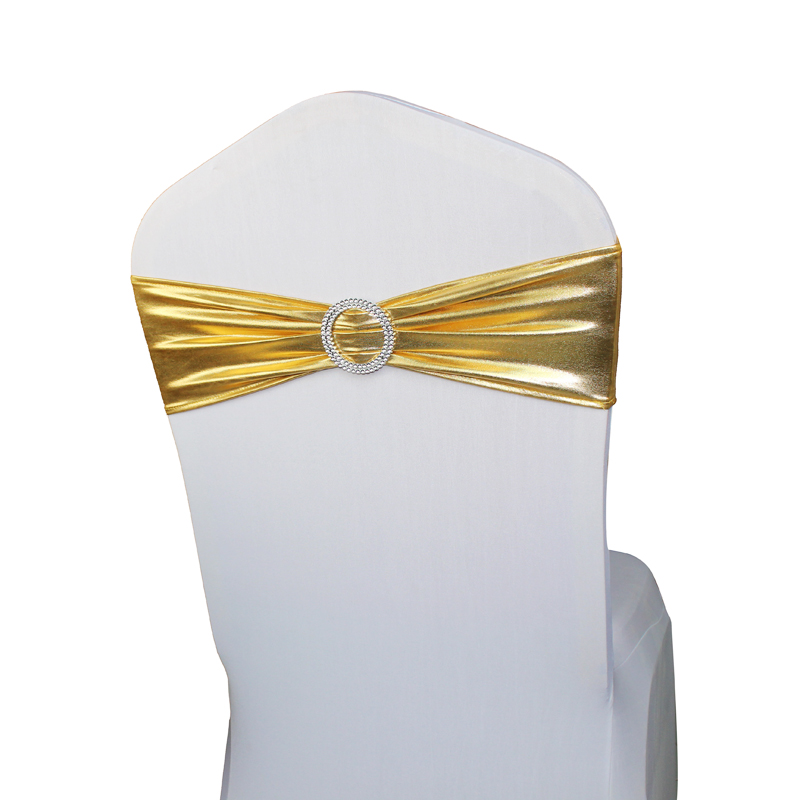 50pcs/lot Metallic Gold/Silver/Black 10 Colors Ceremony Decor Chair Sashes Band Wedding Party Spandex Chair Cover Sash