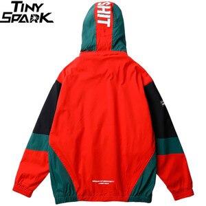 Image 2 - 2019 Streetwear Hip Hop rompevientos chaqueta Retro Color bloque para hombre chaqueta con capucha bolsillo Harajuku cremallera chaqueta exterior