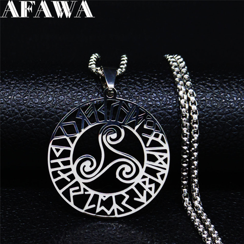Divination Letters Viking Vortex Stainless Steel Necklace Women/Men Silver Color Letter Necklace Jewelry ketting zilver N3075(China)