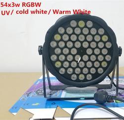 Led par dj par led 4in1 rgbw/branco frio/branco quente/uv 54x3 w led par placa-mãe de lavagem discoteca luz controlador dmx frete grátis