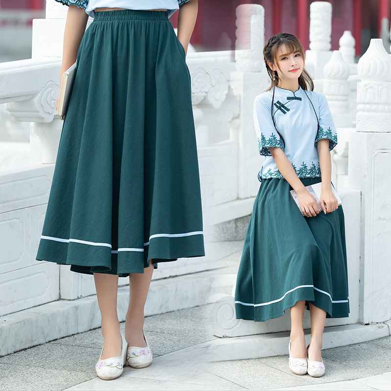 D1885 Artistic Pleated Skirt Women's 2019 Spring And Summer New Style Contrast Color Joint High-waisted Long Skirts