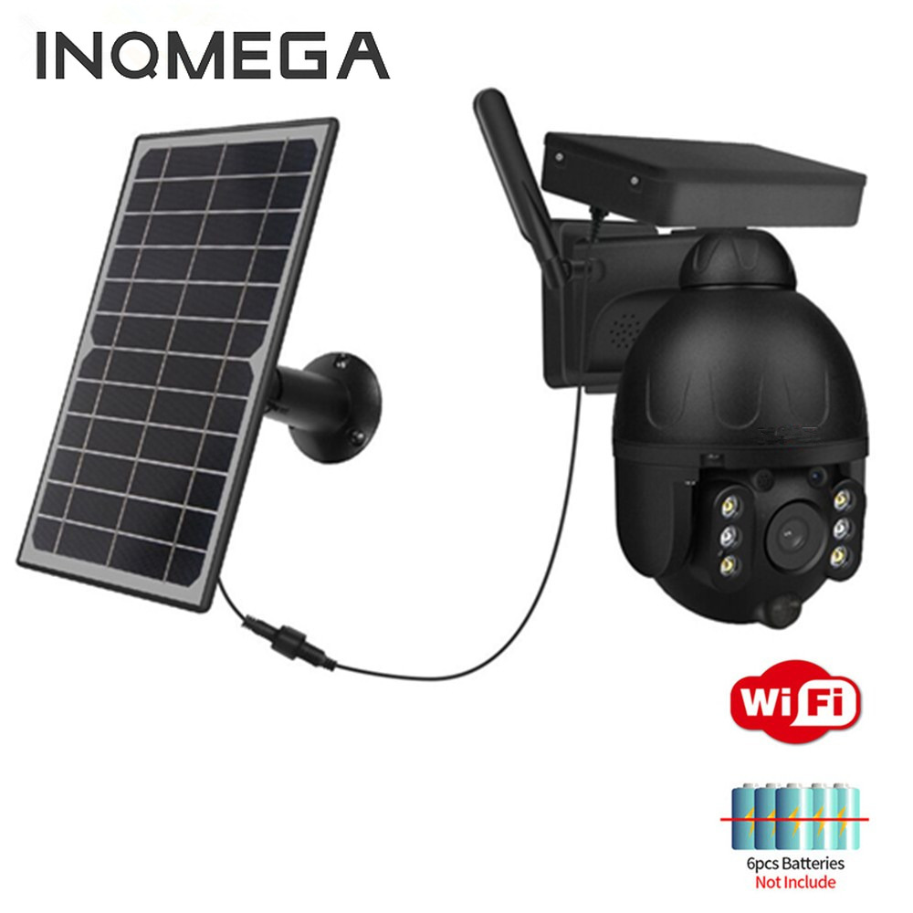 INQMEGA WIFI Solar Camera Outdoor 1080P Wireless Black Detachable 9W Solar Panel Battery PTZ Cam Smart Security Monitor|Surveillance Cameras| - AliExpress