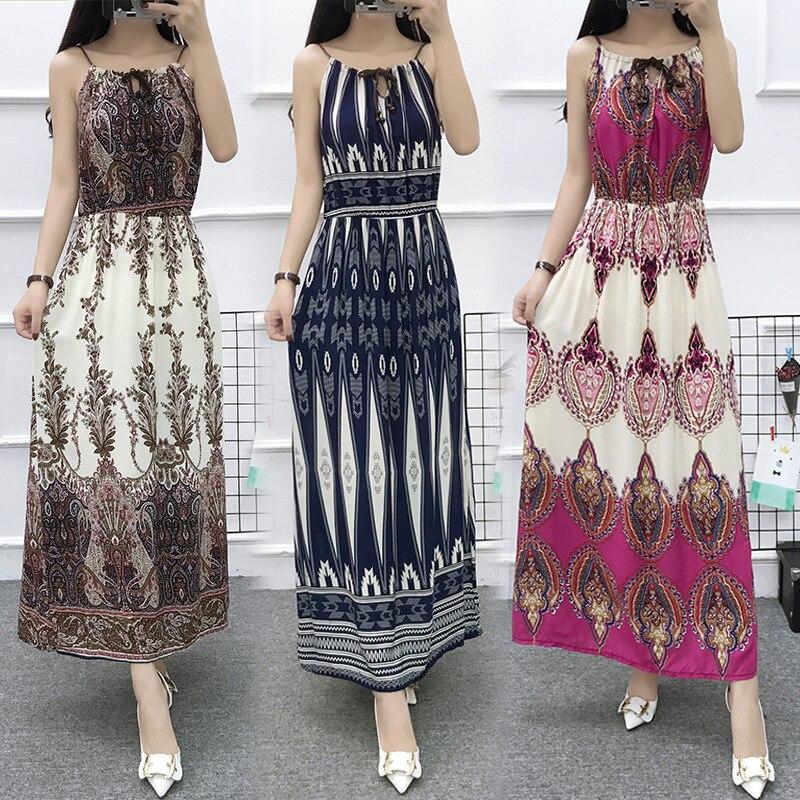 Китайское Стильное женское платье на бретельках с цветочным принтом, длинное летнее платье в стиле бохо с одним словом, без рукавов, Пляжное Платье макси с принтом, Повседневное платье