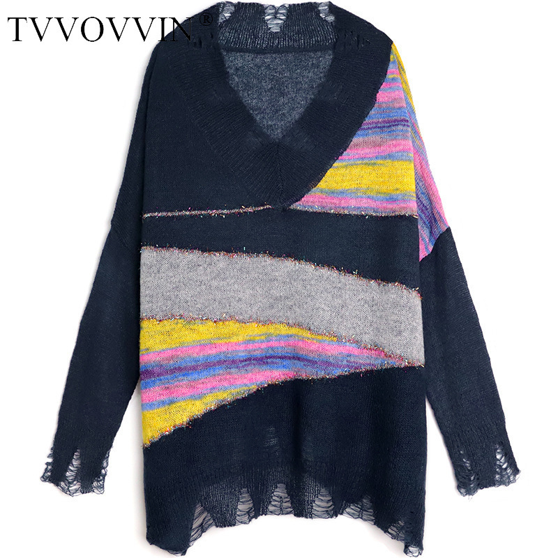 TVVOVVIN 2019 Autumn V Neck Pullovers Mohair Holes Striped Sweater Woman Loose Plus Size Casual Vintage Multicolor Women L159