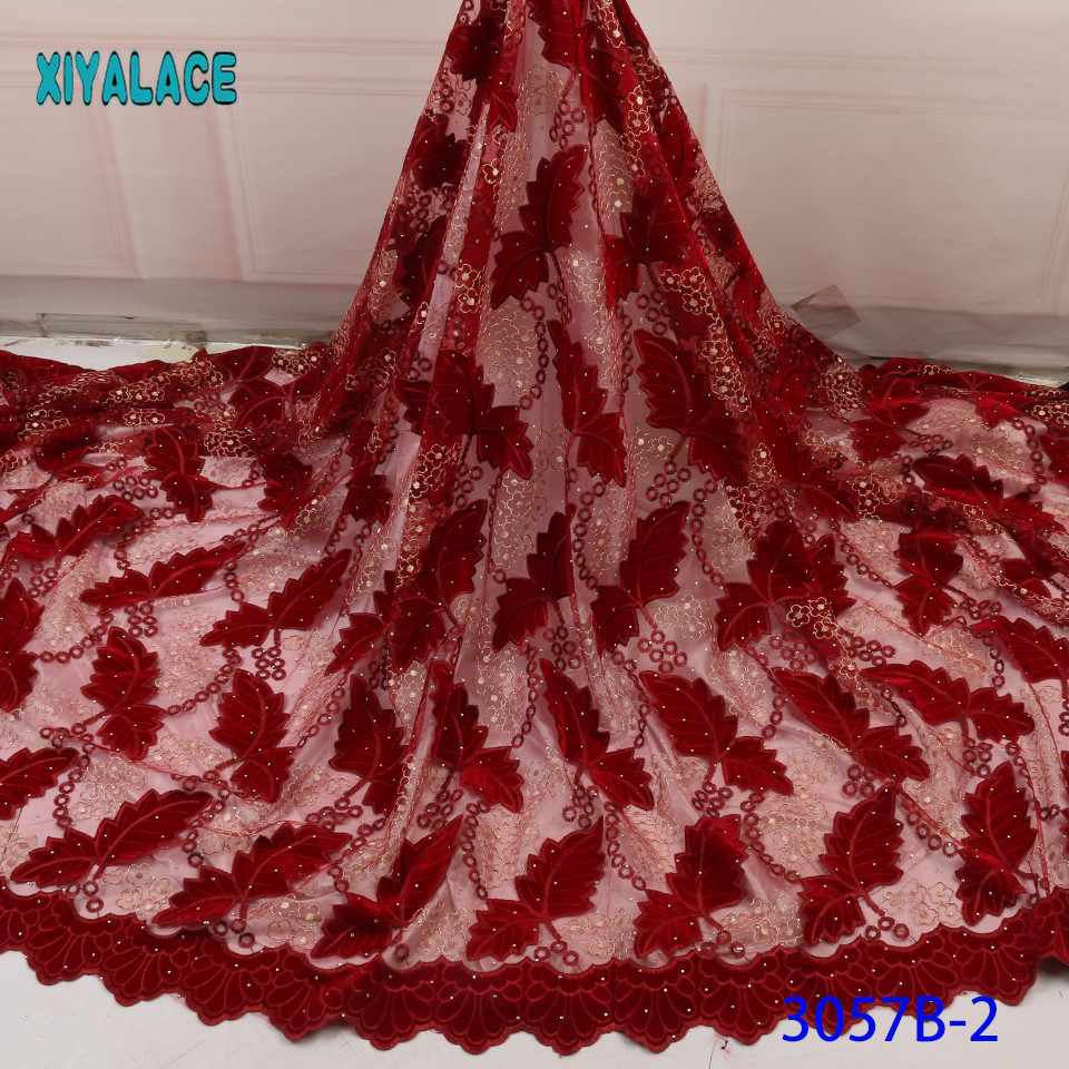 African Lace Fabric 2019 High Quality Beaded Nigerian Lace Fabric Embroidery French Tulle Lace With Stones For Bridal YA3057B-2