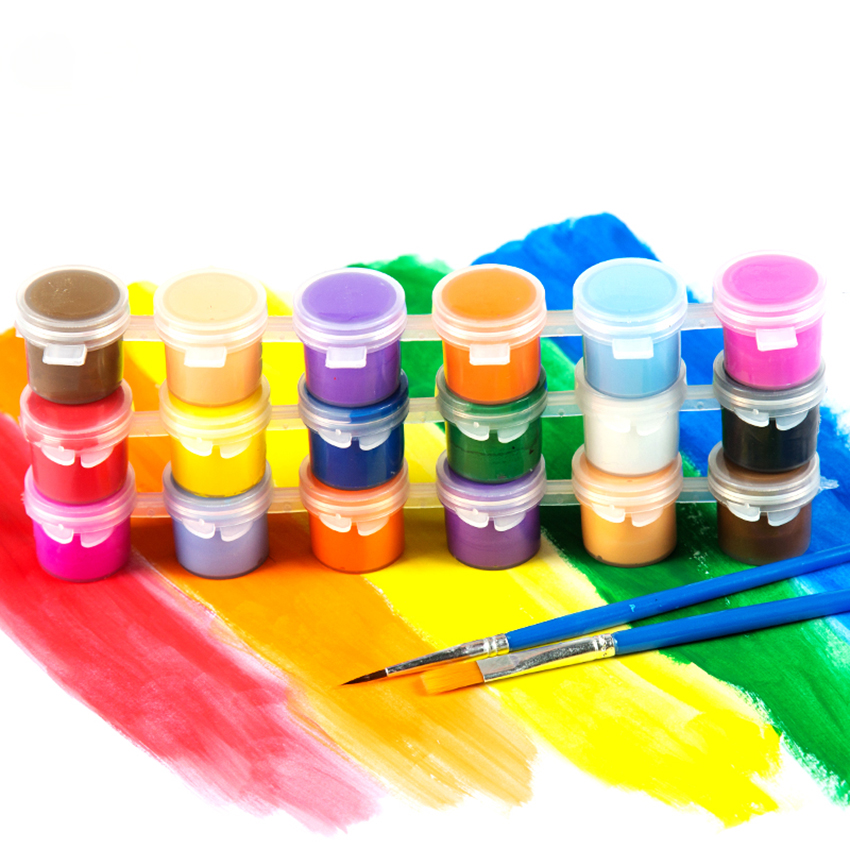 3ml/5ml 6/8 Colors Kids Drawing DIY Acrylic Paint Waterbrush Pigment Set, For Clothing Textile Fabric, Paper,  Bamboo, Leather