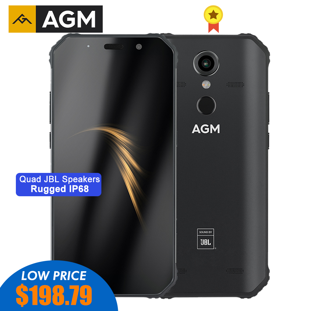 "AGM A9 Rugged Smartphone 5.99"" FHD+ 5400mAh Quick Charge 3.0 4G 64G 32G IP68 Waterproof Phone Android 8.1 Quad-Box Speakers NFC"