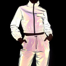 Women Tracksuit 2 Piece Set Hip Hop Reflective Crop Top Pants Fashion Female Loose Zipper Jacket Coat Matching Sets Plus Size(China)