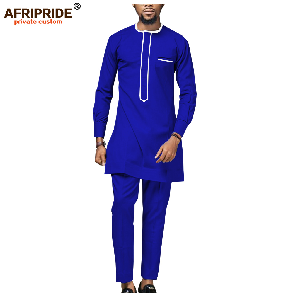 2019 African Men`s Shirt Suit Dashiki Tops Blouse And Ankara Pants Set Traditioal Outfits Attire Wax Clothes AFRIPRIDE A1916018