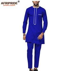 2019 Afrikaanse mannen Shirt Suit Dashiki Tops Blouse en Ankara Broek Set Traditioal Outfits Kledij Wax Kleding AFRIPRIDE A1916018