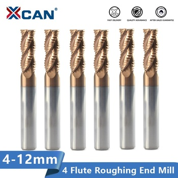XCAN Roughing End Mill 4-12mm 4 Flute CNC Router Bit Spiral Milling Bit TiCN Coating HRC 55 Solid Carbide Milling Cutter 1 pack 8m r0 5 60l 8d 4 flutes micro grain solid carbide aitin coating cnc end milling cutter hrc 45 flat end mill knife