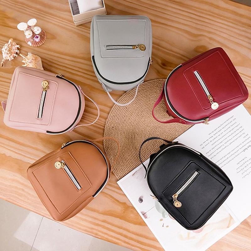 PU Leather Small Backpack For Teenage Girls Fashion Leisure Zipper Shoulder Bag Knapsack Mini Female School Backpack