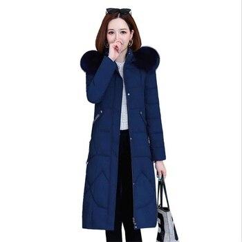 2020 Winter Jackets Womens Long Coat Plus Size 4XL Female Korean Style Hooded Fur Collar Thick Parkas Women