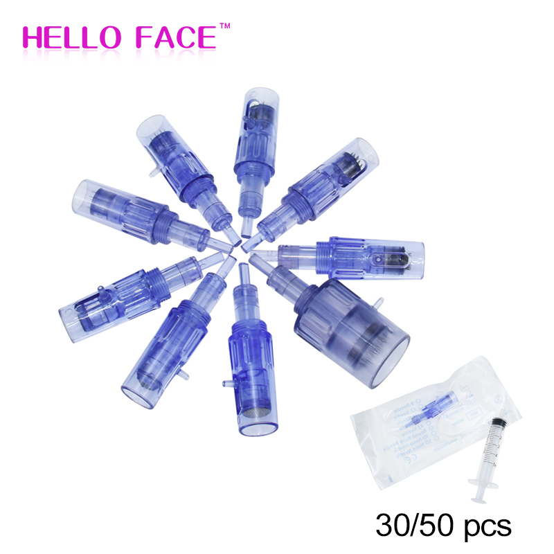 30/50PCS Microneedle Cartridges Syringe Tube Screw Suits 2 In 1 Mini Water Hydra Gun Mesotherapy Injector Nano Auto Derma Stamp