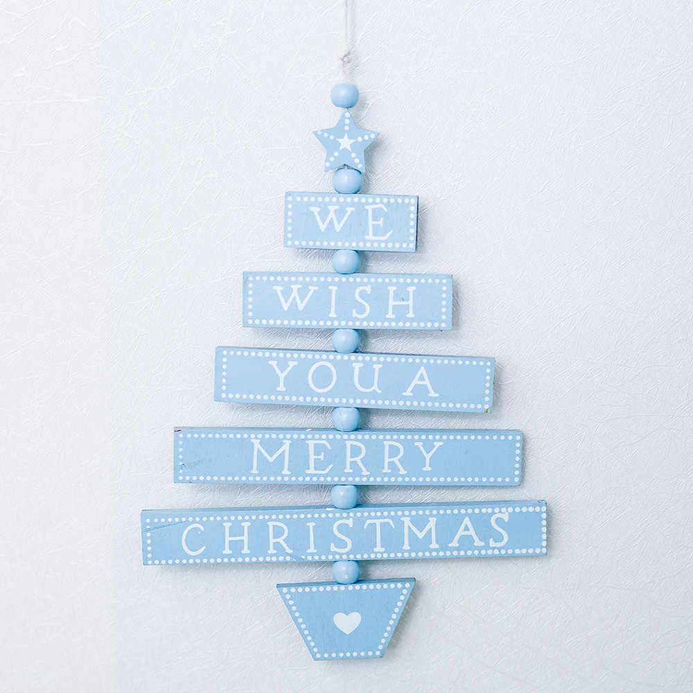 Christmas Tree แขวนเครื่องประดับตกแต่งสำหรับบ้านไม้เถาไม้จี้ WE WISH YOU A MERRY CHRISTMAS พิมพ์ F820