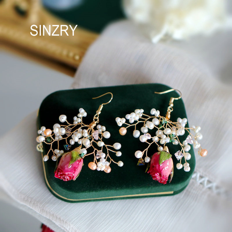 SINZRY Creative Handmade Jewelrynatural  Pearl Preserved Pink Flower Ancient Exaggerated Bridal Drop Earrings For Women