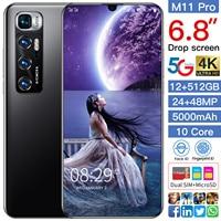 Versione globale Xiomi M11 Pro Smart Phone da 6.8 pollici Android 10.0 12GB RAM 512GB ROM Dual Sim sbloccato cellulare MTK 6889 Core