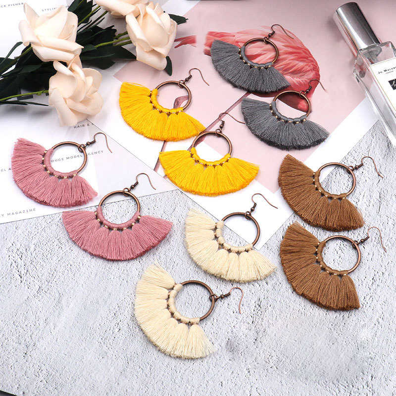 BTWGL Vintage Ethnic Long Tassel Earrings Women's 2019 Fashion Brand Jewelry Geometric Alloy Plating Simple Pendant Earrings