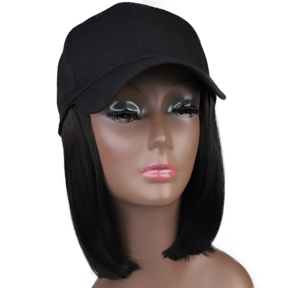 MODERN QUEEN Synthetic Wig Hat Baseball Cap With Short Straight Bob Wig For Women Female Heat Resistant Fiber Short Bob Wig