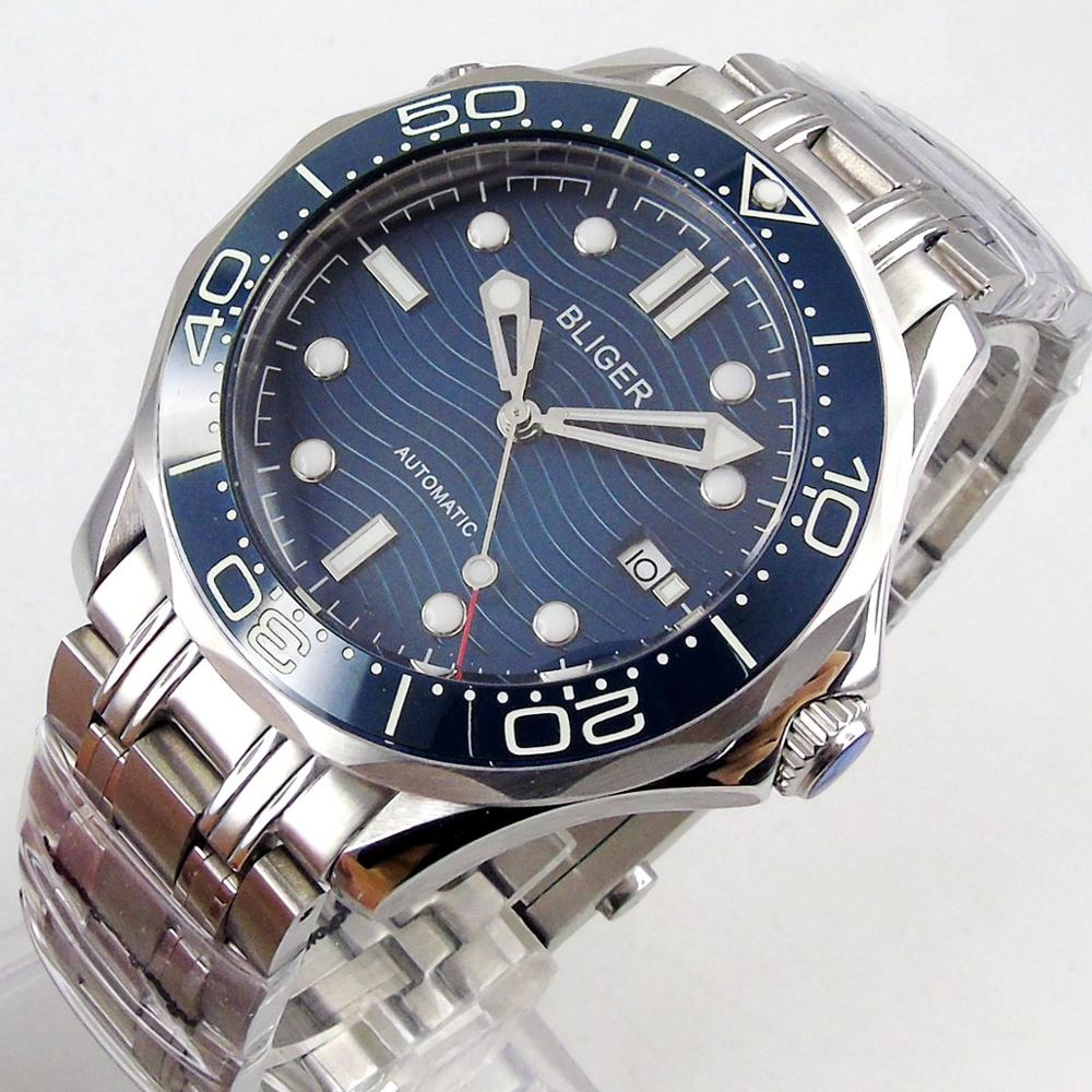 41mm bliger sapphire glass see through back ceramic bezel NH35 Automatic Movement Mens Watch