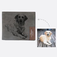 Custom Pet Cat Dog Photo Wallet for Men Grey Fabric Male Purse Engrave Name Personalized Short Wallets Christmas Gift Husband