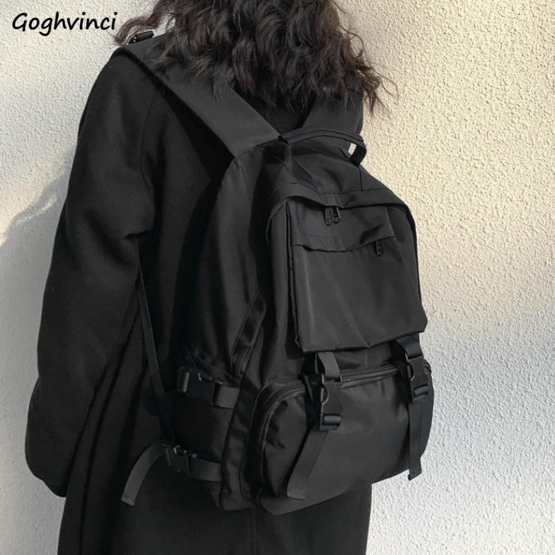 Backpacks Preppy Students Backpack Large Capacity Button Travel Bag Solid Simple Harajuku Chic Fashion Retro Unisex High Street