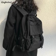 Plecaki Preppy plecak dla studentów torba podróżna o dużej pojemności prosta w jednolitym kolorze Harajuku elegancki Fashion Retro Unisex główna ulica tanie tanio Goghvinci PŁÓTNO CN (pochodzenie) wytłoczone WOMEN Miękka osłona Poniżej 20 litrów Wewnętrzny przedziałek miękki uchwyt