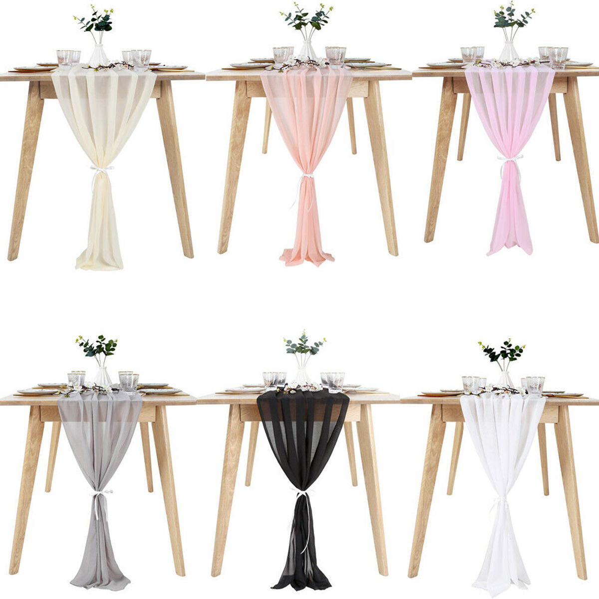 New Flowy Chiffon Table Runner Kitchen Living Room Party Wedding Home Decor