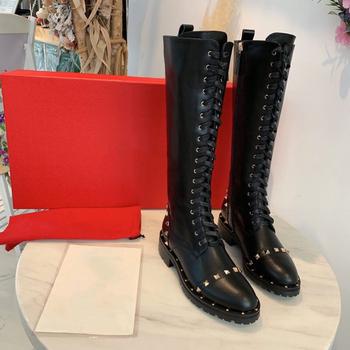 Plus rozmiar 34-39 buty damskie oryginalne skórzane buty damskie konstrukcja nitów buty damskie klasyczne buty zimowe marki do kolan tanie i dobre opinie STKEHIDBA CN (pochodzenie) Prawdziwej skóry Skóra bydlęca Podkolanówki Stałe Ali34-39 Dla dorosłych Mieszkanie z Podstawowe