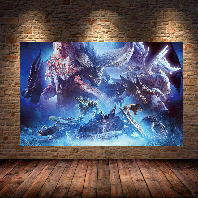 Unframed The Poster Decoration Painting of MONSTER HUNTER WORLD on Canvas Oil canvas painting art posters and prints For Bedroom