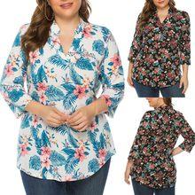 Mode Femmes T-shirts Hauts Mujer Camisetas Grande Taille T-shirts Col V Imprimé Floral Dames Manches Longues Esthétique Top Femmes Haut