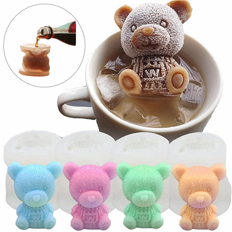 3D Ice Cube Maker Little Teddy Bear Shape Chocolate Cake Mould Tray Ice Cream DIY Tool Whiskey Wine Cocktail Silicone Mold