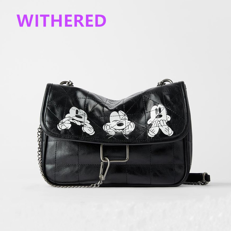 Dave&Di bags high street vintage fashion casual leather cartoon mouse printing cute Iron chain soft PU wint lining bags women