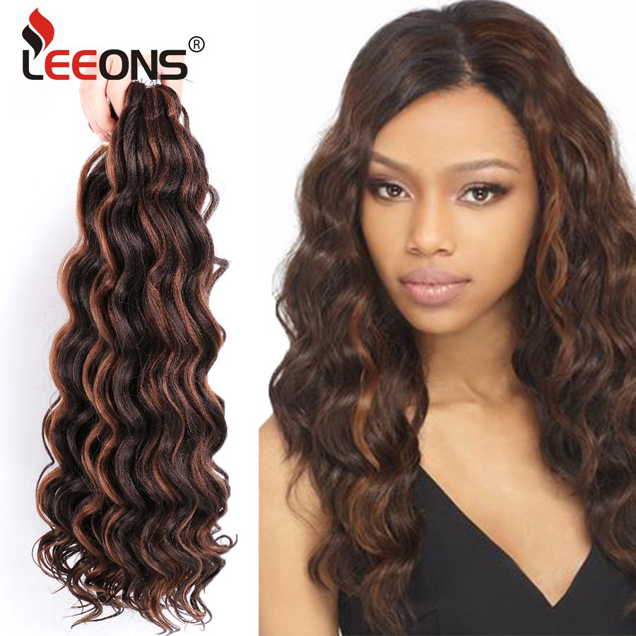 Leeons High Quality Ocean Wave Crochet Hair 20inches Synthetic Heat Resistant Deep Water Wave Ombre Braiding Extension Hair