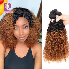 Racily extensão de cabelo peruano, cabelo encaracolado ombré 100%, pacotes de extensões 1/3/4 t1b/30 ombre pacotes de trançados de cabelo remy
