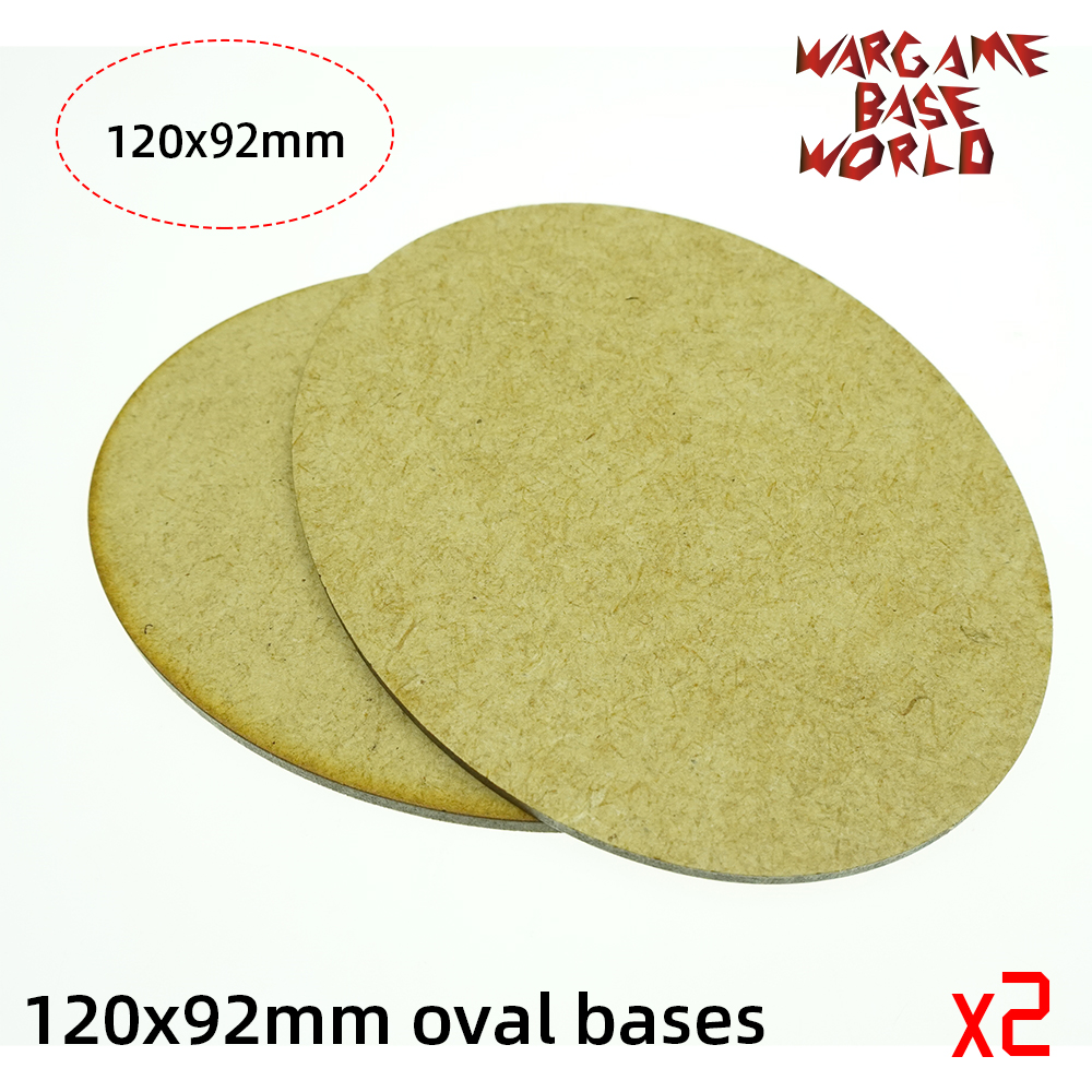2x AOS MDF Bases - Oval 120x95mm AOS Bases - Laser Cut Wargames Wood