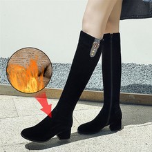 Plus Size 34-43 Women's Winter Shoes Knee High Boots High Quality Faux Suede Brand Women Shoe Wool Women Winter Boots Long Boots genuine leather women winter boots brand women winter shoes natural wool warmful plush high quality knee high boots xammep