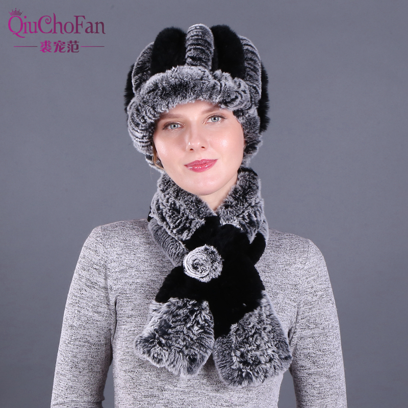 New Fashion Girl Fur Cap Lady Winter Natural Real Rex Rabbit Fur Hat Scarf Suite Quality Women 100% Genuine Fur Hat Muffler
